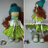 Кукла текстильная Малышка ручной работы (бирюза)