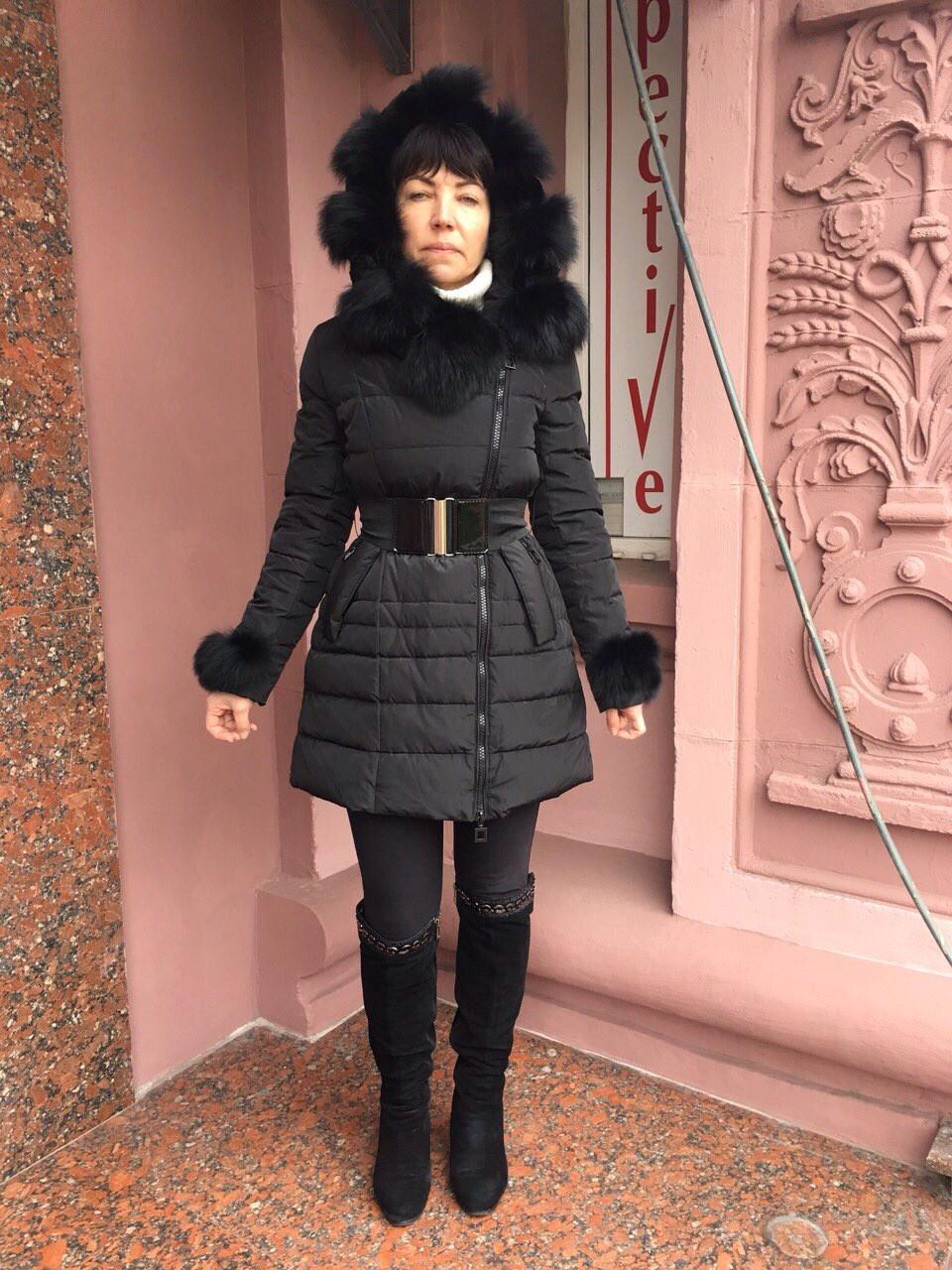 Пуховик пальто женский Effect зимний на молнии с натуральными мехами песца на капюшоне и рукавах молодежный