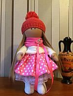 Кукла текстильная Машенька ручной работы (розовый)
