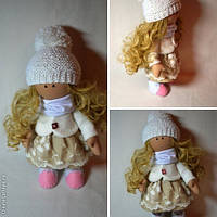 Кукла текстильная Лиза ручной работы (белый)