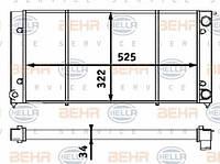 8MK376713-304 HELLA Радиатор охлаждения   VOLKSWAGEN CADDY (82-) & GOLF I & II 9/1981->8/1991 & JETTA 9/1981->12/1991 G/D, - A/C, M/A