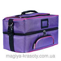 Профессиональный кейс для косметики с вынимающимся органайзером, фиолетовый