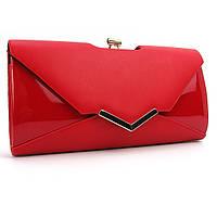 Женская сумка-клатч красная матовая лаковая
