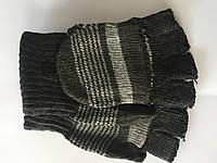 Вязаные перчатки без пальцев черные, фото 1