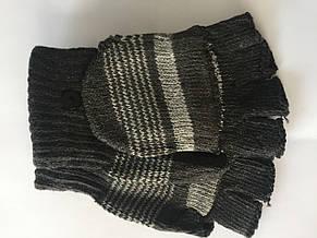 Вязаные перчатки без пальцев черные, фото 2