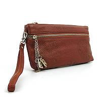 Коричневый женский клатч кожаный Louis Vuitton