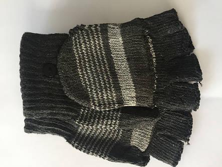 Вязаные перчатки без пальцев серые, фото 2