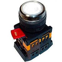 Кнопка ABLFS-22 білий d22мм неон/240В 1з+1р IEK