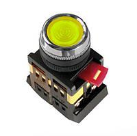 Кнопка ABLFS-22 желтый d22мм неон/240В 1з+1р IEK