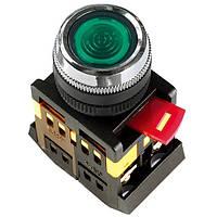 Кнопка ABLFS-22 зеленый d22мм неон/240В 1з+1р IEK