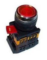 Кнопка ABLFS-22 червоний d22мм неон/240В 1з+1р IEK