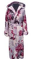 Женский махровый халат с капюшоном-Цветы