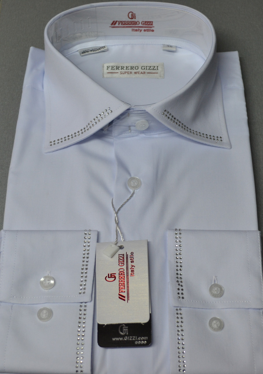 Біла класична сорочка зі стразами FERRERO GIZZI розмір (39.40.41.43.44.45)