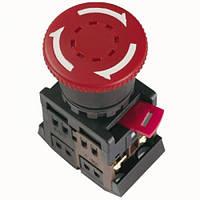 """Кнопка AE-22 """"Грибок""""з фіксацією червоний d22мм 240В 1з+1р IEK"""