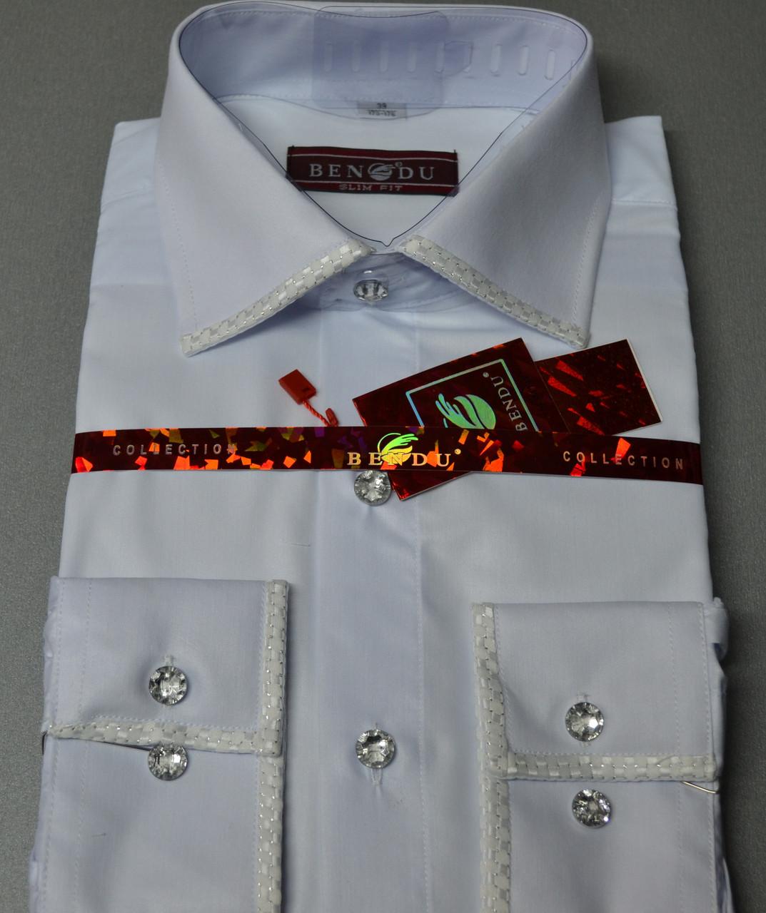 Мужская рубашка со стразами (камушками) BENDU (размер 39,41)