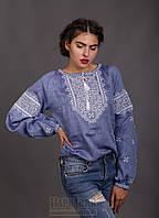Женская вышиванка Твори мир, лен джинс, длинный рукав