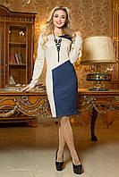 Классическое осеннее платье трикотажное по колено с асимметричным рисунком 44-50 размеры