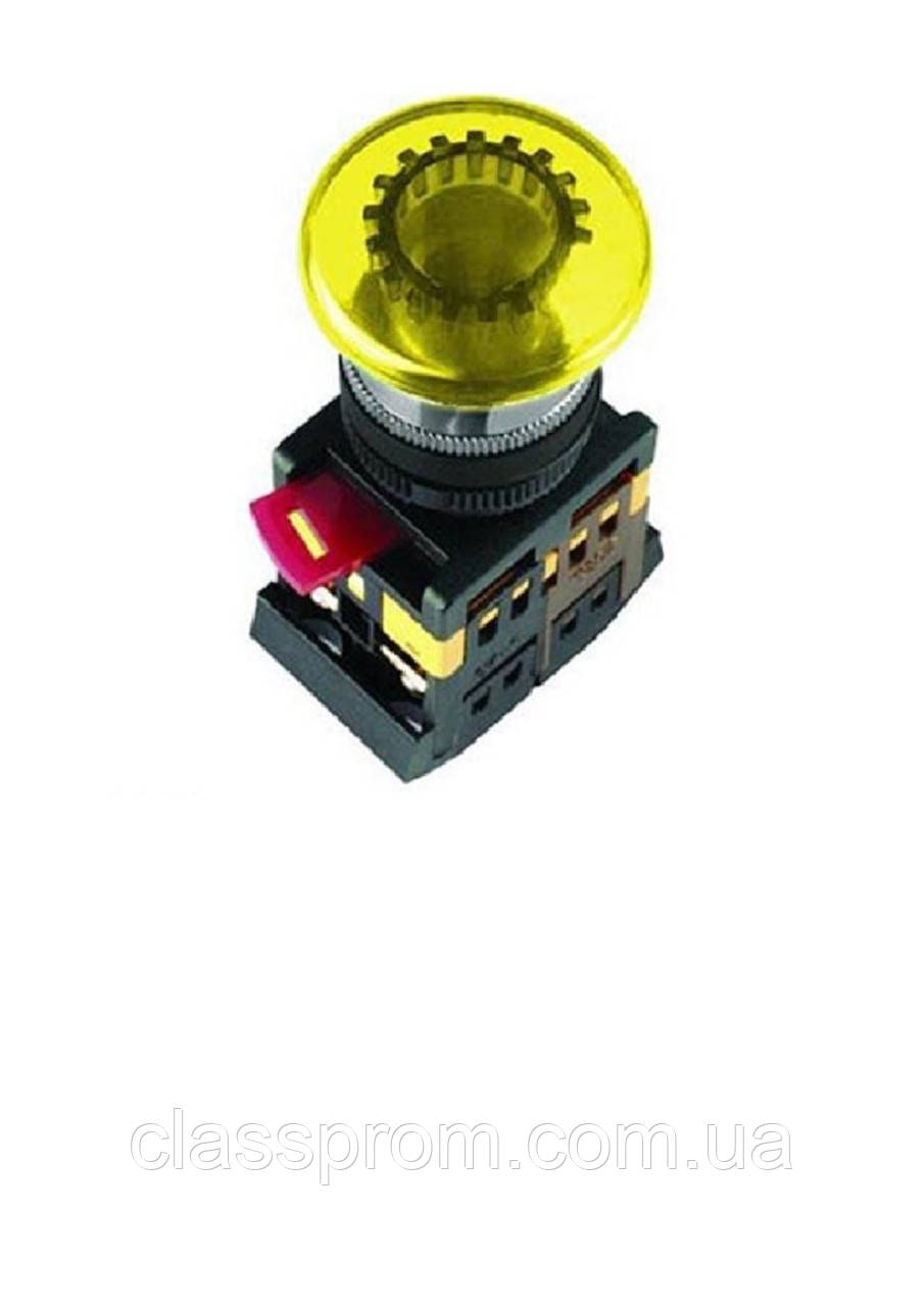 "Кнопка AELA-22 ""Грибок"" желтый d22мм неон/240В 1з+1р IEK"