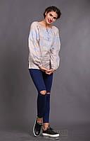 Женская вышиванка Окошко, бежевый лен, голубая вышивка, длинный рукав