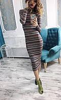Платье женское длинное трикотажное в полоску P4549