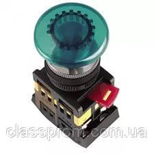 """Кнопка AELA-22 """"Грибок"""" зеленый d22мм неон/240В 1з+1р IEK"""