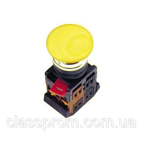 """Кнопка AEА-22 """"Грибок"""" желтый d22мм 1з+1р IEK"""