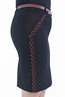 Женская черная юбка с боковой вышивкой коричневого цвета 207, фото 1
