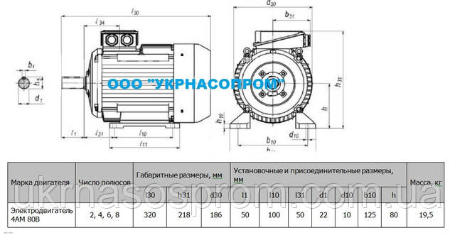 Электродвигатель 4АМ 80 В8 0,55 кВт 750 об/мин