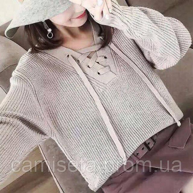свитер женский вязаный со шнуровкой P4556 продажа цена в одессе