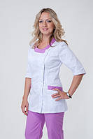 Медицинский костюм женский,белый+ сирень, р.42-56