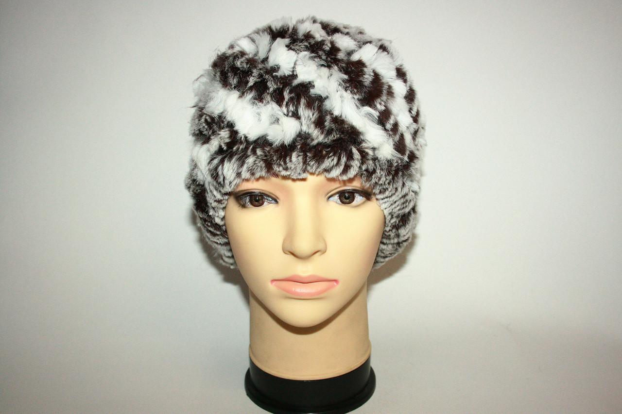Женская шапка из вязаного меха рекса