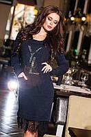 Стильное темно-синее  ангоровое платье с карманами и кружевом, камни. Арт-9178/57