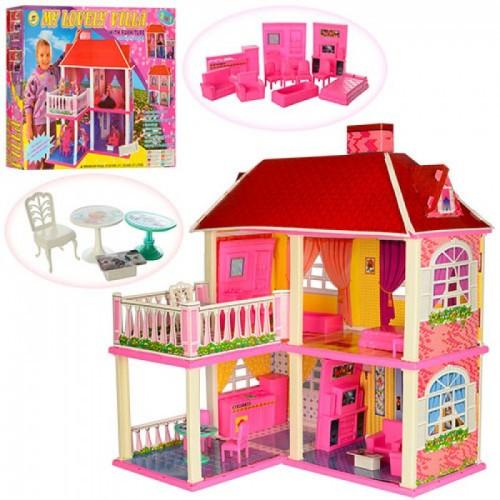 Дитячий ігровий набір, двоповерховий будиночок для ляльок висотою 16 см 6980 в комплекті з меблями