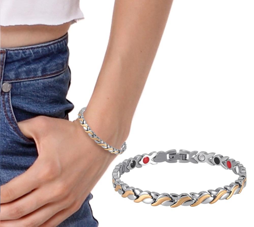 Магнитный браслет женский Лилия 4в1 - (турмалин, германий, инфракрасный)