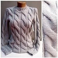 """Объёмный свитер """"Мыс"""", св.серый"""