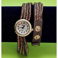 """Женские наручные часы-браслет на тонких кожаных ремешках со стразами  """"Кемпси"""", коричневые"""