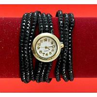 """Женские наручные часы-браслет на тонких кожаных ремешках со стразами  """"Нулкаба"""", черные"""