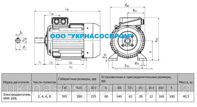Электродвигатель 4АМ 100 L2 5,5 кВт 3000 об/мин