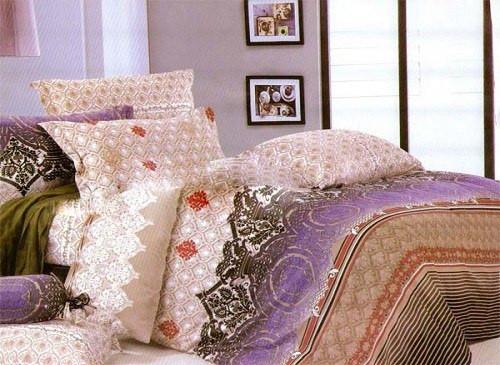 Двуспальный с евро простынью комплект Иней Фиолет