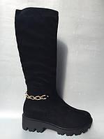 Зимові чоботи з золотим ланцюжком