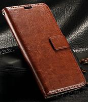 Кожаный чехол-книжка для Samsung Galaxy S6 Edge коричневый