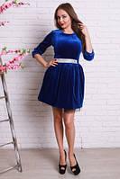 Синее бархатное платье пышное