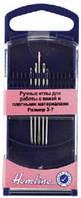 Иглы ручные для работы с кожей и плотными материалами в пластиковом контейнере, № 3-7, 5 шт