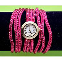 Женские наручные часы-браслет на тонких ремешках со стразами, розовые