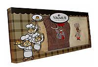 """Подарочный набор из 3-х махровых кухонных полотенец """" повар"""" №К-4. 100% хлопок"""
