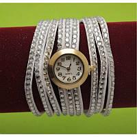 Женские наручные часы-браслет на тонких ремешках со стразами, белые