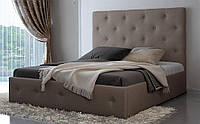 Кровать двуспальная кожаная Лафесста с мягким изголовьем и подъемным механизмом