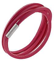 Женский розовый браслет из натуральной кожи