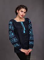 """Синяя женская вышиванка """"Птица"""", бирюзовая вышивка, фото 1"""