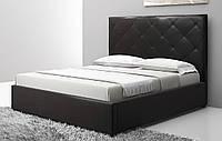 Кровать двуспальная кожаная Плутон 180х200 с мягким изголовьем